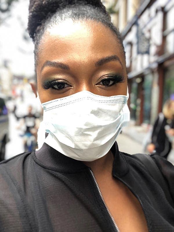 image of Erika wearing her mask